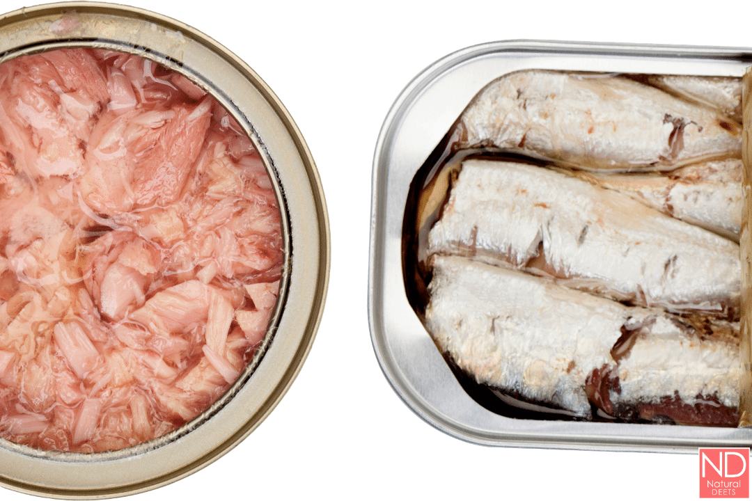 a picture of canned tuna and canned sardines