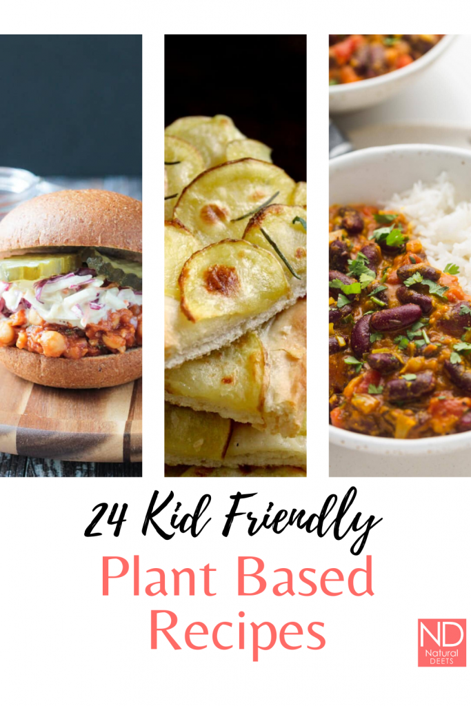 pinterest pin that says 24 kid friendly plant based recipes