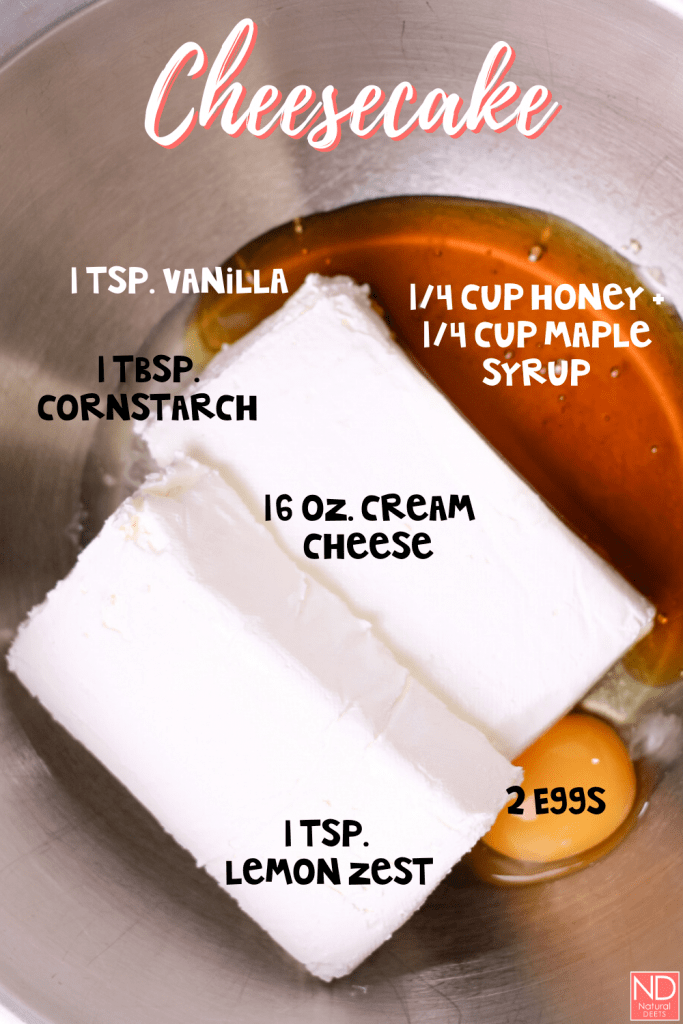 a picture of all the ingredients needed to make the cheesecake