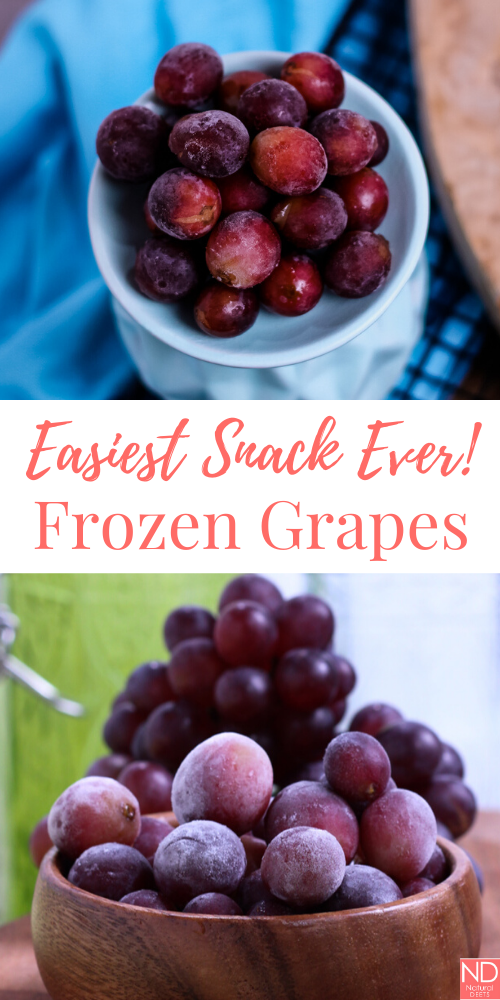 picture of frozen grapes with the words easiest snack ever frozen grapes