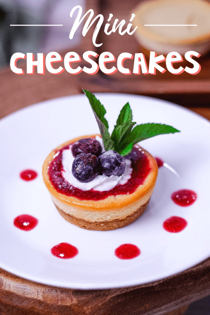 a mini cheesecake with blueberries and a mint leaf on top of a white plate with pink purees