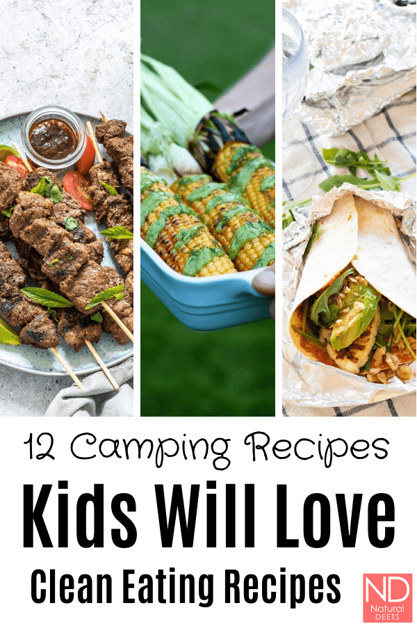 pinterest pin that says 12 camping recipes kids will love