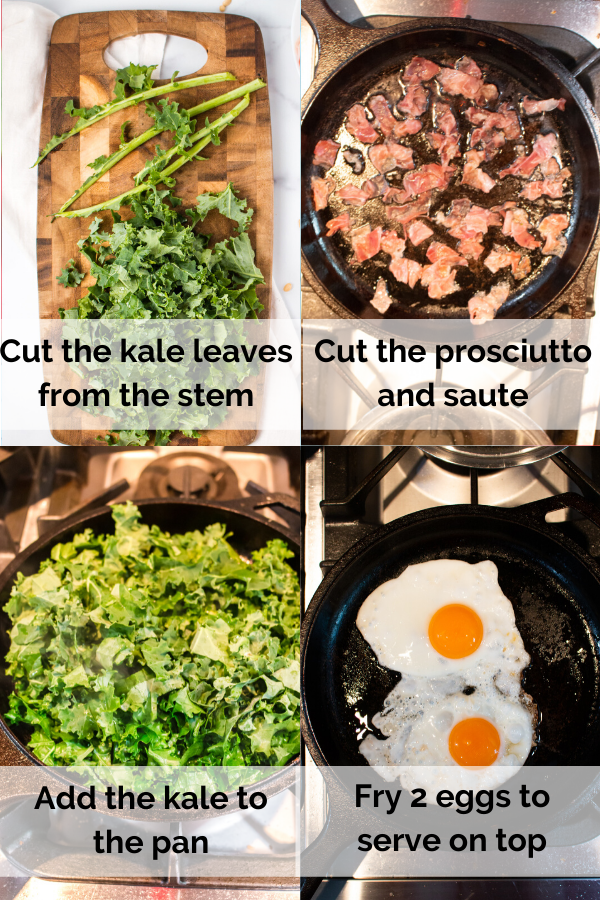 four pictures showing how to make the dish. Tehy day cut the kale leaves from the stem, cut teh prosciutto and saute, saute the kale and fry 2 eggs to place on top.