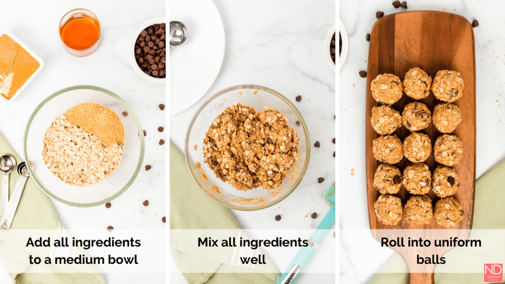 three pictures showing how to make energy balls, add all ingredients to a medium bowl, mix well and form into uniform balls
