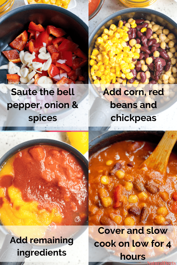 four pictures showing how to make pumpkin chili. It says saute the bell pepper, onion and spices, add corn and beans and chickpeas, add the remaining ingredients and slow cook for 4 hours