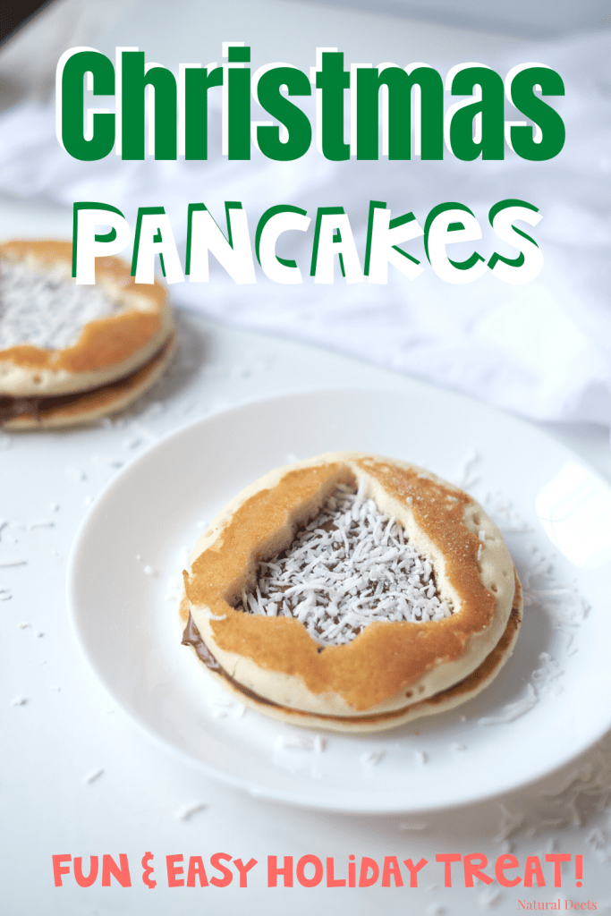 a pinterest pin that says Christmas Pancakes a fun and easy holiday treat