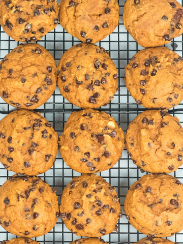 12 round orange cookies on a black cooking rack. The cookies are lined up in three rows
