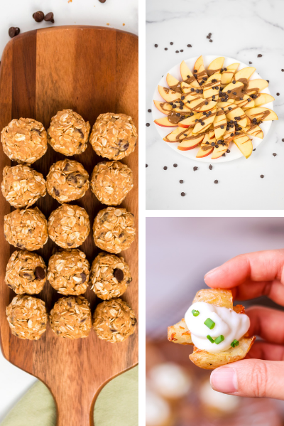 three photos- one with apple nachos, one with smashed potatoes and energy balls