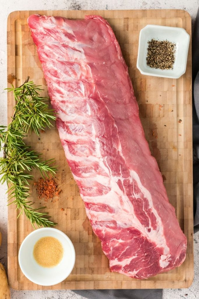 top view of a raw rack of pork babay back ribs