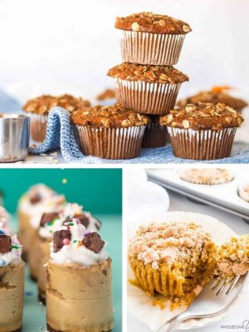 three pictures - one is a side view of three muffins stacked, a side view of a tall, round cheesecake and a 45 degree view of a pumpkin muffin